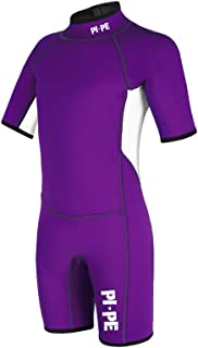 PI-PE Kid's Spring S/S Shorty Wetsuit - 3mm - Short Sleeve Wetsuit for Watersport, Snorkeling, Diving, Surfing - Super Str...