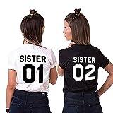 Camiseta Best Friend T-Shirt 2 Piezas Impresión Sister 01 02 Camisa Hermana Manga Corta para Mujer (Sister-01-S+02-S, Blanco + Negro)