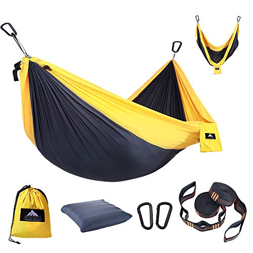 Camping Hammocks, Lightweight portable Nylon Parachute Hammock Change to Swing Chair in 3 seconds, Durable Polyester Hanging Chair,Indoor & Outdoor Backpacking, Travel, Beach, Backyard, Patio, Hiking