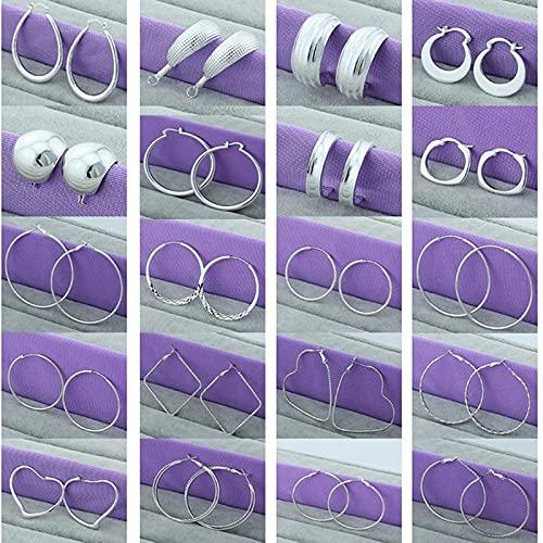 MALAT Pendiente de aro Redondo Circular de 3,5 cm / 5 cm de Moda Simple de Plata de Ley 925 para Mujer-Coral