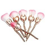 Vovotrade 6 Stück Rose Form Pro weichen Kontur Gesicht Puder Foundation Blush Pinsel Make-up Kosmetik-Tool (Gold)