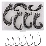 60pcs Offset Worm Hook High Carbon Steel Wide Gap Bait Jig Fish Hooks with Plastic Box #1-5/0