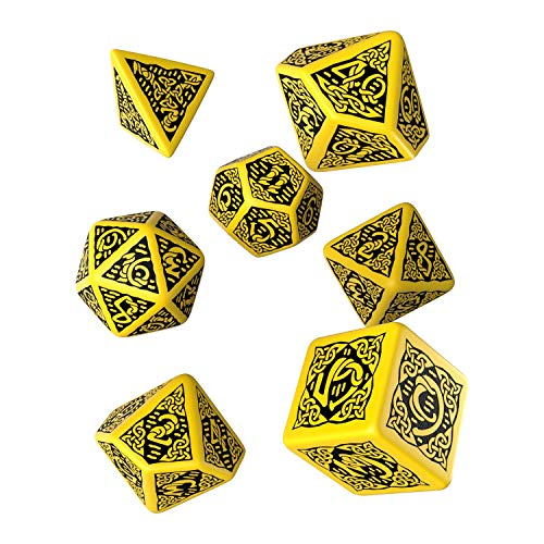 Q-Workshop Polyhedral 7-Die Set: Celtic 3D YELLOW & Black Dice Set!