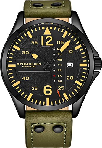 Stuhrling Original Mens Leather Watch -Aviation Watch, Quick-Set Day-Date, Leather Band with Steel...