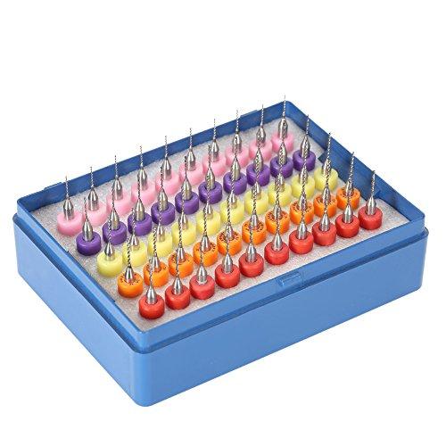 KKmoon 50 Stück Hartmetall Mikrobohrer in Schutzbox, Mehr Spezifikationen Wolframstahl PCB Bohrer Bit Set 0.5 + 0.6 + 0.7 + 0.8 + 0.9mm Spiralbohrer für Leiterplatte Gravierwerkzeuge