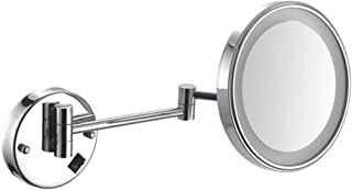 Bathroom Shaving Mirror Wall Mounted 8 Inch USB Charge Makeup Mirror with LED Lights and 3X Magnification Single Side Round Vanity Mirror Extendable Arm Built-in Lithium Battery
