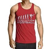lepni.me Camisetas de Tirantes para Hombre La evolución del fútbol - Camiseta de fanático del Equipo de fútbol de la Copa Mundial (Small Rojo Blanco)