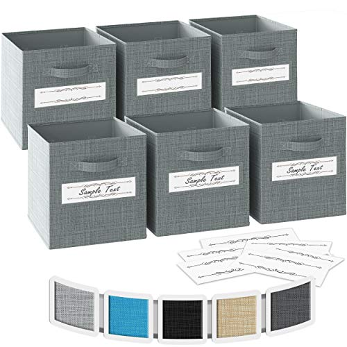 13x13x13 Large Storage Cubes - Set of 6 Storage Bins |Features Label Window 2 Handles | Cube Storage Bins | Foldable Closet Organizers and Storage | Fabric Storage Box for Home, Office (Grey)