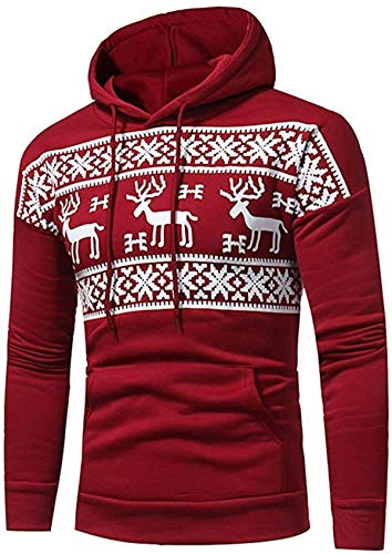 RBELEF Mens Autumn Winter Print Hoodie Hooded Sweatshirt Tops Jacket Coat Outwear