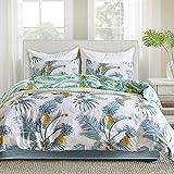 Delien Biancheria da letto in microfibra con foglie tropicali di ananas e fiori stampati, set di biancheria da letto da 3 pezzi (1 copripiumino 200 x 200 + 2 federe 80 x 80) per 4 stagioni