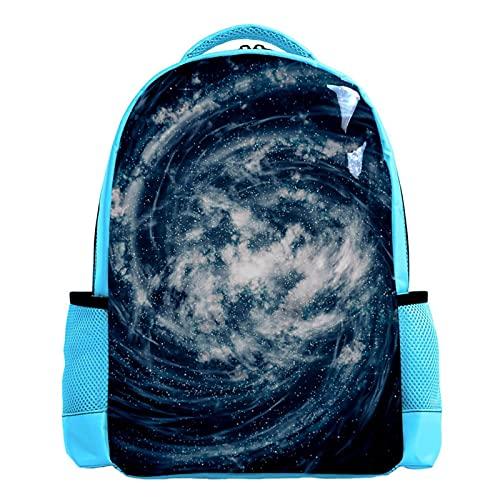 SIDOLI Blauer Whirlpool-Kosmos, Schulrucksack Schultasche Nette Bookbags Rucksack Laptop Rucksack Diebstahlsicher Casual für Kinder Mädchen Jungen