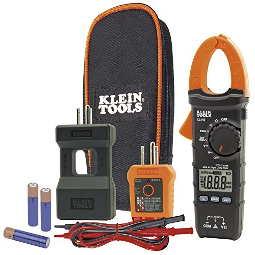 Klein Tools CL110KIT Electrical Tester / Maintenance Kit w/Clamp Meter, Continuity Tester, GFCI Tester, Line Splitter, Case, Leads, 3 x AAA