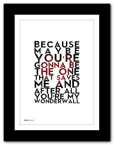 Oasis – Wonderwall – A3 Songtext Typografie Poster-Kunst, limitierte Auflage #54