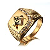 OAKKY Herren Edelstahl Masonic Freimaurer Ring mit Diamanten Biker Symbol Mitglied Band, Gold Größe 57 (18.1)