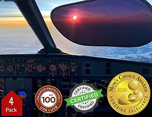 kinder Fluff Sunshade (4x)- The only Certified Sunshades blocking 99.79 % of UVA & 99.95% UVB-120 GSM Sun Shades & 15S Static Film (Mom's Choice Gold Awards Winner) Aircraft,truck,SUV,car window shade