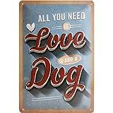 Nostalgic-Art Cartel de Chapa Retro Love Dog – Idea de Regalo para los dueños de Perros, metálico, Diseño Vintage para decoración Pared, 20 x 30 cm