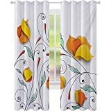Cortinas opacas impresas, ramo con ramas de papel románticas flores de origami otoñal, imagen de flores de papel origami, cortinas de 52 x 95 para habitación de bebé, color naranja menta