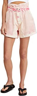 Free People Olivia Paper-Bag Waist Cotton Shorts - Dark Red Size 25