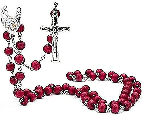 BEISUOSIBYW Co.,Ltd Collares Collar de Hombre Rojo 6 mm Madera con Perfume Collar Collar de oración Rosario de oración Joyería de Cuentas religiosas Collar de Jesús Regalos de joyería