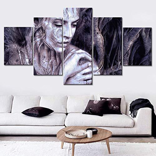 SHHSGZ Bilder und Kunstdrucke Leinwand Bild gemälde Wandbilder Poster lein wanddrucke 5 teilig auf leinwand Moderne Malerei verfluchte Arme Frau Bild Modular HD für Wohnzimmer 100x55cm Frame