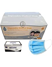 50PCS Disposable Medical Face Mask for Kids, BFE 95% 3 Layer Solid Color (Blue)