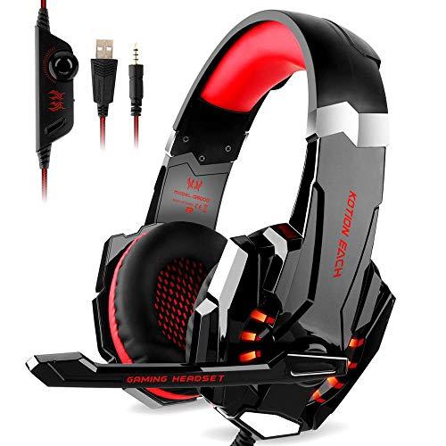 Fbewan Auriculares Gaming para PS5, PC, Playstation 5, Cascos Ruido Reducción de Diademas Cerrados Profesional con Micrófono Limpio Sonido 3.5mm, Azul,Rojo
