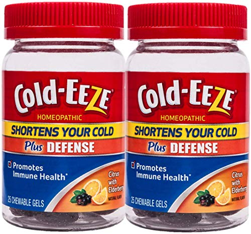 Cold-EEZE Plus Defense Chewable Gels, Twin Pack, Citrus with Elderberry 25ct- Shortens Colds, Promotes Immune Health*
