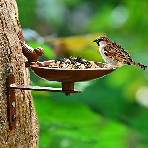Sharpex Sturdy Steel Plant Hanger Bird Bath or Feeder Rust Brown, Cast Iron Wall Mount Bird Feeder Great for Attracting Birds (Brown)