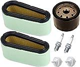 Piezas de repuesto para cortacésped 496894 filtro de aire 272403S Filtro de aceite de filtro prefiltro con 394358 Bujía de filtro de combustible para Briggs & Stratton 282700 12.5-17 HP Motores