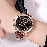ZWH AliExpress Cross-Border Hot Women's Watch Calendario Impermeable Cinturón Reloj Korean Casual Student Watch (Color : Coffee with Black Tray 66544)