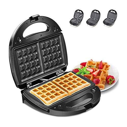 YFGQBCP 3 En 1 Waffle Hierro, Waffle máquina con Placas Desmontables, Wafflera, Sandwich tostadora, Panini de máquinas, Revestimiento Antiadherente
