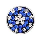 andante brokat chunk click-button bottone a pressione con pietre di vetro piombato che brillano (zaffiro- bianco) per bracciali chunk, anelli chunk e altri accessori chunk