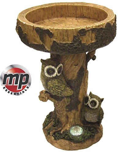 MP Essentials Solar LED Light Owl Garden Patio Birdbath