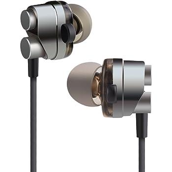 KingYou イヤホン おと漏れ防止 カナル型イヤホン 高音質 絡みにくい リモコン・マイク付 Xpera/iPhone/Android対応 KM05 グレー