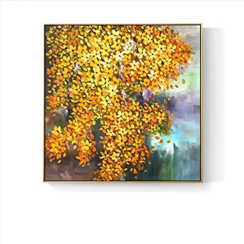 Rincr 100% handgeschilderde bloemen bomen kunst olieverfschilderij op canvas muurkunst wandversiering schilderij voor woonkamer wooncultuur