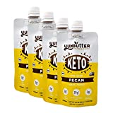 Keto Nut Butter, Pecan – Keto Snacks with MCT Oil, Fat Bomb Low Carb Snacks (2 Net Carbs), On-the-go Keto Food by Yumbutter, 3.4oz pouch, 4 pack