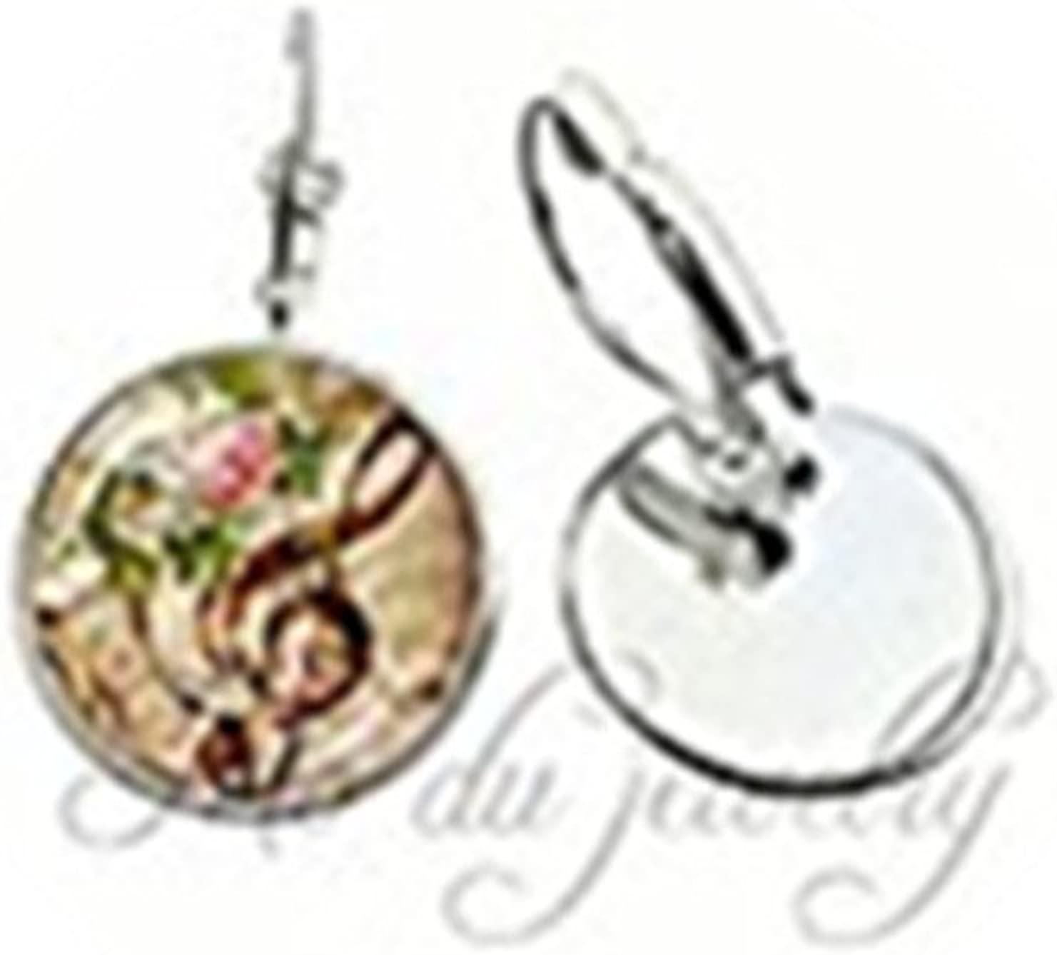 G-Clef Earring Vintage Music Glass Cabochon Earring Music Note Pendants