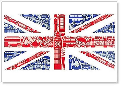 Calamita classica da frigorifero con bandiera dell'Inghilterra dai simboli del Regno Unito e di Londra.