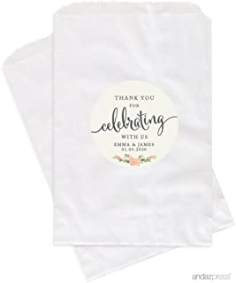 Andaz Press Personalized Dessert Table Party Favor Bags, Thank You for Celebrating with Us, Floral Roses, 24-Pack, Custom for Wedding Baby Shower Graduation Candy Buffet Treat Bags