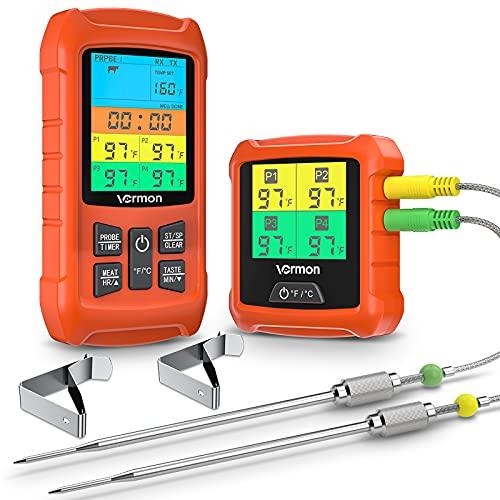 BBQ Fleischthermometer,Grillthermometer Funk Bratenthermometer Küchenthermometer mit 2 Edelstahlsonde, Temperaturbereich bis 300°C, Farb LCD Bildschirm, Zeitmesser