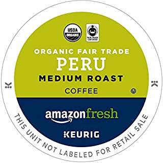 AmazonFresh 80 Ct. Organic Fair Trade K-Cups, Peru Medium Roast, Keurig K-Cup Brewer Compatible