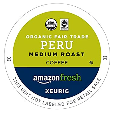 AmazonFresh 80 Ct. Organic Fair Trade Coffee K-Cups, Peru Medium Roast, Keurig Brewer Compatible