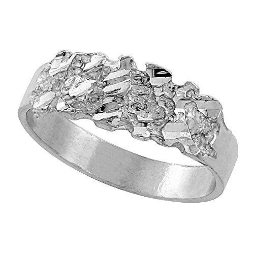 Sterling Silver Nugget Ring Diamond Cut Finish 3/8 inch wide, size 8