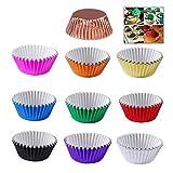 XLKJ 200 pezzi Pirottini per Cupcake,10 Colori Pirottini di Cartaper Muffin Metallic Cupcake Carta Cottura Tazze