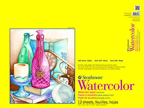 Strathmore 300 Series Watercolor Pad, Cold Press, 18'x24', 12 Sheets