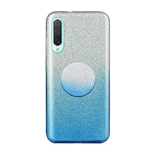Nadoli für Samsung Galaxy A50 Gradient Glitzer Hülle,3 Schicht Glänzende Stoßfest Silikon Stoßdämpfung Transparent Hart Hybride Dünn Glitzer Schutzhülle Handyhülle mit Ständer
