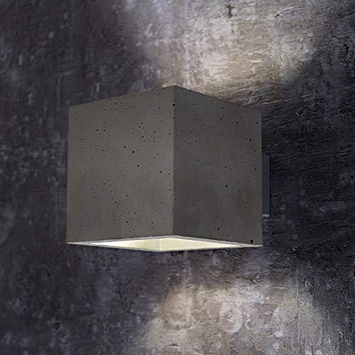 Innenleuchte Wandleuchte Wandlampe aus Beton LORA BETON (Quadratisch, Grau) Inkl. 1 x LORA BETON Eckig Wandbeleuchtung Leuchte Up-Down, Fassung G9 - ohne Leuchtmittel