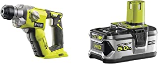 Ryobi R18SDS-0 ONE+ SDS Plus Cordless Rotary Hammer Drill (Body Only) - Hyper Green & RB18L50 ONE+ Lithium+ 5.0Ah Battery,...