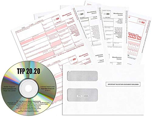 Complete Laser 1099 Misc Tax Form and 1096 - Kit for 50 Vendors ~5-Part~ All 1099 Forms with 50 Self-Seal Envelopes Plus TFP Software in Value Pack | 1099 Misc 2020