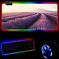マウスパッド パープルラベンダー30X70Cmled Rgbusb大型マウスパッドゲーム照明バックライト付きレインボーゲーマーマウスパッドキーボードデスクマット G